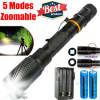 High Powered 9900000LM Tactical Rechargeable T6 LED Flashlight Torch Lamp Light