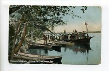 Thousand Islands NY Goose Bay, picnic party, people, boats, steamer funnel