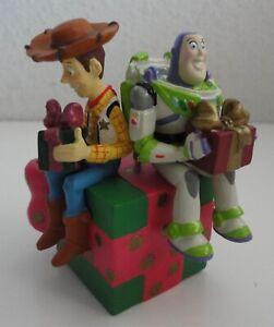Disney Toy Story Buzz & Woody Sitting on Gift Christmas Ornament Disneyland 2002