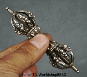 "4"" Collect Rare Old Tibet Buddhism Temple Silver Beast Phurba Dagger Holder"