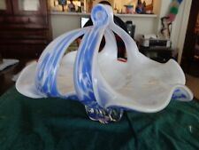 Royal Gallery Art Glass Blue and White  Basket with Handle