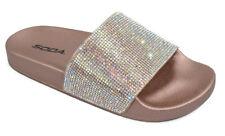 Soda Women Flip Flops Sandals Bling Rhinestone Crystal Slides Gold Bronze SYLVIA
