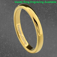 3mm Gold Plated Tungsten Women Wedding Band Ring High Polished Classic Dome