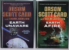 Earth Unaware + Earth Afire Orson Scott Card + Aaron Johnston H/C  1st Printings