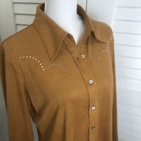 Western Ethics Western Shirt Large Button Up Long Sleeve Embellished Brown Tan
