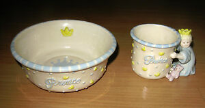 2-Piece Mud Pie Prince Ceramic Feeding Set Cup Mug & Bowl His Royal Highness
