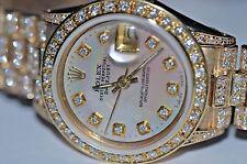 Womens Rolex Datejust President 18K Solid Gold Diamonds Everywhere