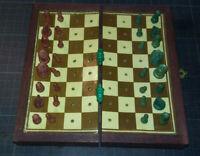 Vintage Jeu d'échecs de voyage - coffret & pièces bois -plateau trou - incomplet