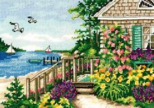 """Dimensions Gold Counted Cross Stitch kit 7"""" x 5"""" ~ BAYSIDE COTTAGE #70-65145"""