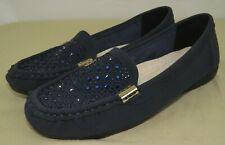 JABASIC Women's Slip-on Loafers Flat Casual Driving Shoes Navy Bling 9.5