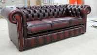NEW CHESTERFIELD TUFTED BUTTONED 3 SEATER SOFA COUCH REAL VINTAGE OXBLOOD RED