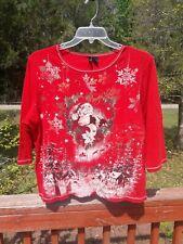 New Direction Woman Christmas Blouse Santa Claus Shirt 2XL Shinny Studs made USA