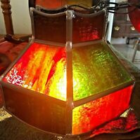 Vintage Stained Glass Hanging Light red green Mid Century