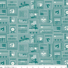 By 1/2 Yard ~ A Scout Is... Law in Teal ~ Riley Blake Boy Scouts Camping Fabric