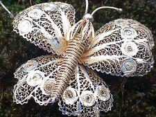 LARGE Vintage Sterling Silver 925 Gold Wash Filigree Butterfly Pin Brooch Vtg 1