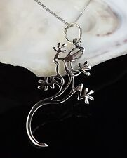 Solid Sterling Silver 925 Gecko Lizard Pendant 16/18/20 Inch Necklace Chain Gift