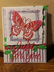 handmade card just for you lavender pink flowers large butterfly leaves for you
