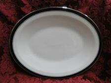 """Franciscan Indigo, Ivory with Platinum, Black Band: Oval Serving Platter 13"""""""