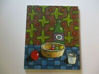 24 INCH GERALD ROWLES PAINTING EXPRESSIONIST ABSTRACT MODERNIST STILL LIFE RARE