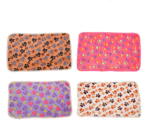 Cute coral pet winter warm  Pad Soft Dog Blanket  Paw Print blanket coral