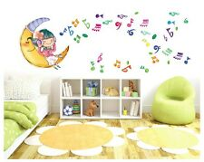 Girl Moon Music Musical Note Removable Wall Stickers Decal Kids Decor Nursery