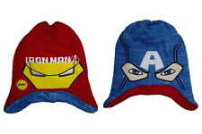Boys Avengers Winter Hat Size Age 4 5 6 Years Ironman Capt America Reversible
