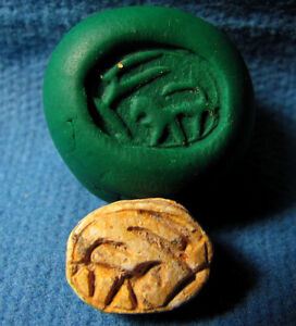 Early Iron Age Judaea Scarab seal with Gazela and LION Archaeology.