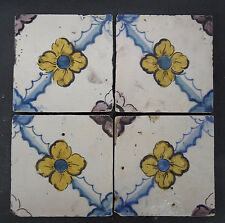 Antique Portuguese Tiles - Set of 4 Floral