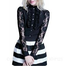 Victorian Clubbing shirt Ruffle Top Pretty Elegant Ladies Office Blouse size