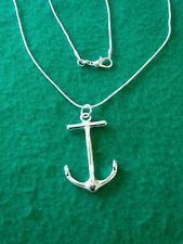 "REDUCED! New Stamped .925 silver plated, Anchor charm 18"" snake necklace."