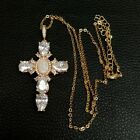 17.5%22%C2%A0Virgin+Mary+Cross+Pendant+necklace+shell+pearl+Cubic+Zirconia+Necklace