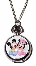"Baby MICKEY & MINNIE MOUSE Pendant Watch on 30"" Chain"
