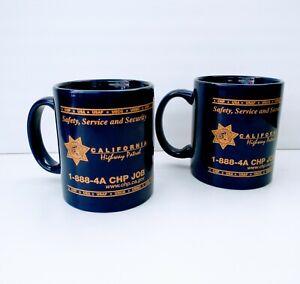 2 Blue California Highway Patrol CHP Coffee Mug Cup Gold Metallic Graphics Flag