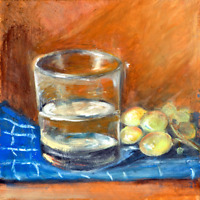 A Glass of water and green grape Oil Painting 8x8in 20x20cm