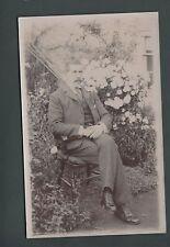 Gentleman, real photo, Checked 3-piece suit, garden, roses, c 1910  qc 624