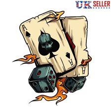 Ace Of Spades Crâne & Dice Vinyle Sticker, Decal, Squelette, voiture, flammes, poker UK