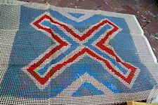 Vintage Mid Centuy Latch Hook Canvas Eurpopean Flag? Geometric