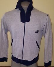 Vtg orange tag NIKE Heather Gray Rayon Tri Blend Sweatshirt Zip Up Track Jacket