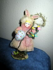 Antique cotton Easter bunny -doll/ tinsel -porcelain head - ornament -