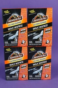 Lot of 4 Armor All Ultra Shine One-Step Wax Wipes 1 Step-Waxing 48 wipes total