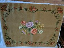 "Antique American Folk Art Flowers Vines Hooked Rug 34"" x 26"" Colorful Nice!!"