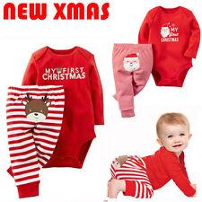 2PCS Set Newborn Toddler Baby Boys Xmas Clothes Romper Pants Santa Claus Outfits