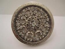 Silver Metal Rhinestone Vintage Ornate Drawer Pulls Cabinet Knobs lot of 2
