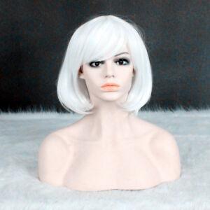 Lolita Bob Short Straight White Cosplay Party Cos Hair Fashion Wig +a wig cap