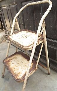 Vintage IRON CHAIR CUM LADDER RACK STEP FOLDING Rustic DISPLAY DECOR USE INDIA