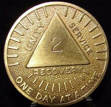 Alcoholics Anonymous AA 3 Year Month Sunshine Bronze Medallion Chip Token Sober