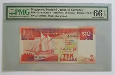 Singapore $10 Ship Banknote With Nice Golden Number A/7 700000 PMG Graded 66 EPQ
