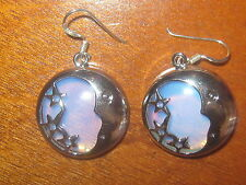 New Blue Sea Opal Moon And Star Silver Opalite Disc Moonstone Dangle Earrings