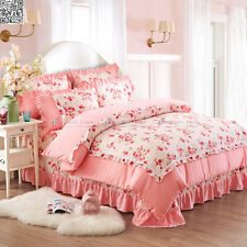 Floral Quilt/Duvet/Doona Cover Set Princess Pink Queen Size Bed Shabby Pink New