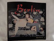 "BERLIN  ""Sex (I'm A...)"" PICTURE SLEEVE! BRAND NEW! ONLY NEW COPY ON eBAY!!"